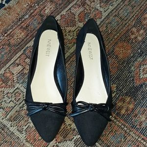 NINTH WEST BLACK FAUX SUEDE POINTY TOE FLA…